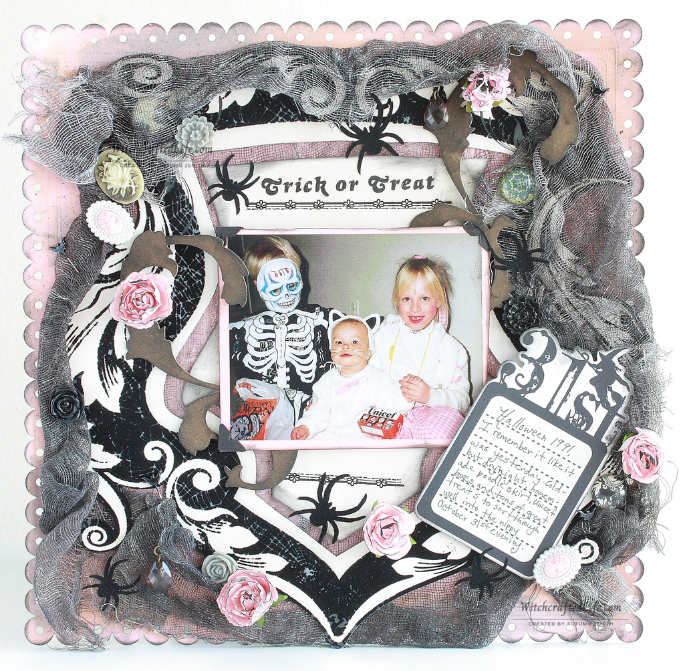 Gorgeous shabby chic pink, grey and black Halloween scrapbook page