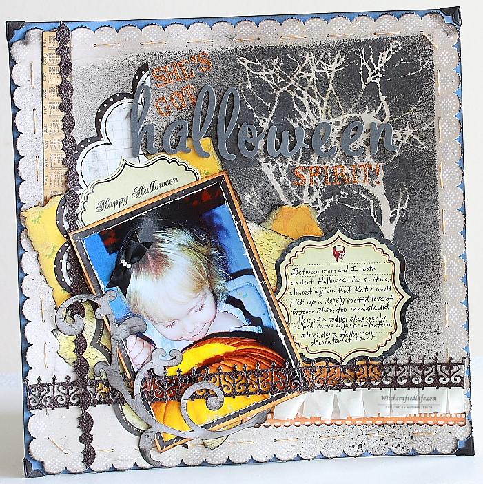 She's Got Halloween Spirit cute shabby chic pumpkin carving scrapbook page